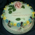 1 Tier Celebration Cake with Sugar Flowers 2