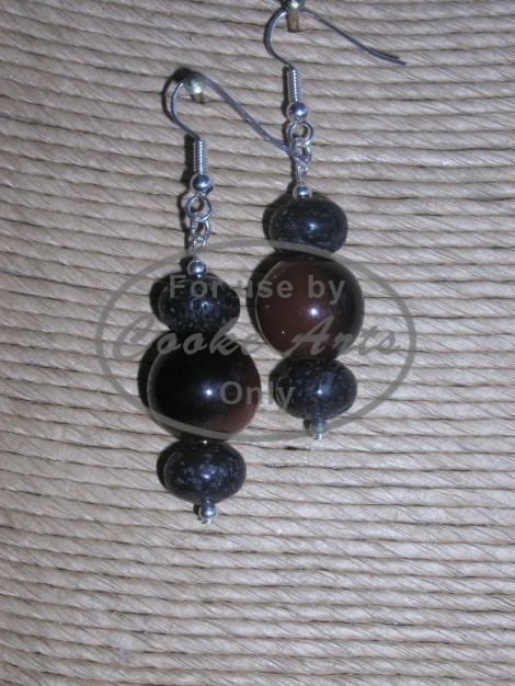 Lava and Murano Glass Silver Earrings