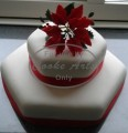 2 Tier Christmas Cake with Pointsetter Sugar Flowers