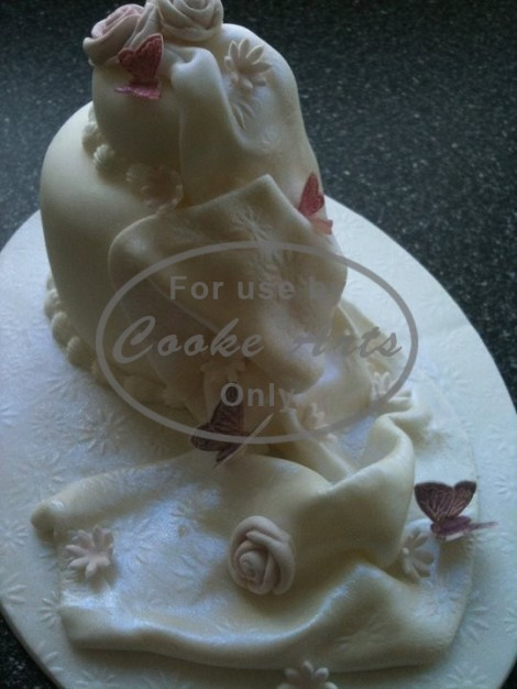 2 Tier Wedding Cake with Sugar Flowers