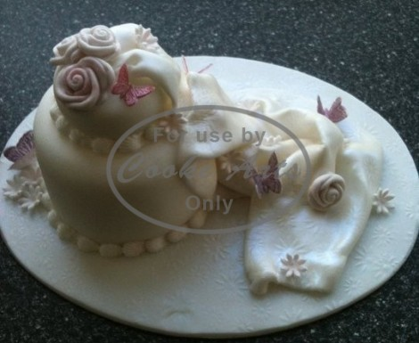 2 Tier Wedding Cake with Sugar Flowers and Butterflies