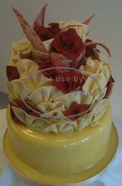 2 Tier White Chocolate Wedding Cake
