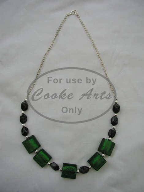 Necklace - Murano Glass, Black-Green Jet & Silver