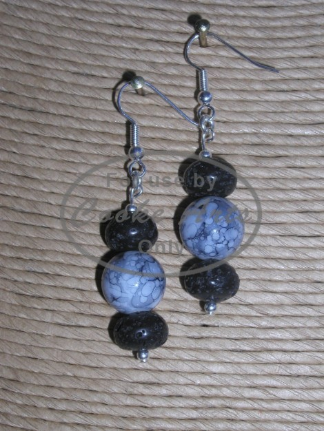 Obsidian and Lava Silver Earrings