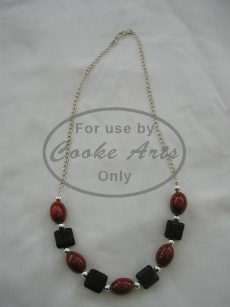 Necklace - Ceramic, Lava & Silver