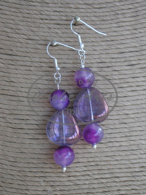 Agate & Bohemian Glass Silver Earrings