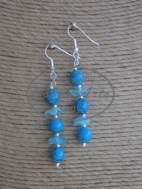 Turquoise and Crystal Crackle Silver Earrings