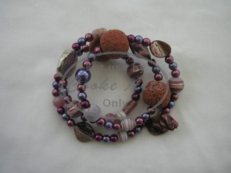 Mother of Pearl, Amethyst, Freshwater Pearls & Ceramic