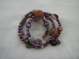 Bracelet - Mother of Pearl, Amethyst, Freshwater Pearls & Ceramic
