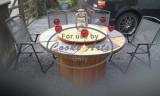 Wooden Round Table with Lazy Susan